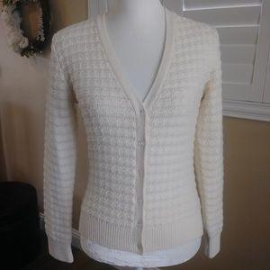 Brooks Brothers Ivory Cardigan Sweater Wool Small